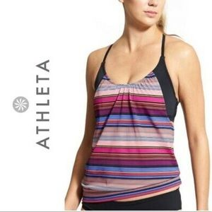 Athleta capri stripe blousy taking top sz 34 D/DD
